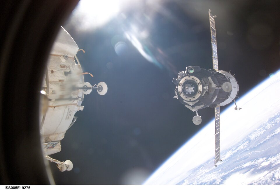 Soyuz TMA-1 docking with the ISS