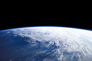 Very thin blue layer: the atmosphere protecting our planet