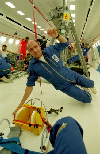 André Kuipers during one of ESA's Parabolic Flight Campaigns