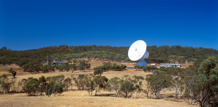 Panoramic view of ESA's New Norcia ground station, DSA 1 (Deep Space Antenna 1), located 140 kilometres north of Perth, Western Australia, close to the town of New Norcia