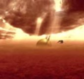 Huygens lander passing through Titan's atmosphere