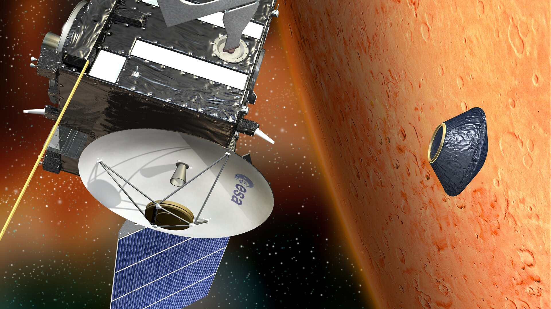 ESA's Mars Express probe releasing the Beagle 2 lander