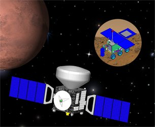 Artist's impression of the ExoMars orbiter with descent module and the rover