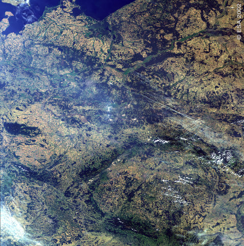 Eastern Germany, western Poland and the Czech Republic – MERIS- 19 August 2002