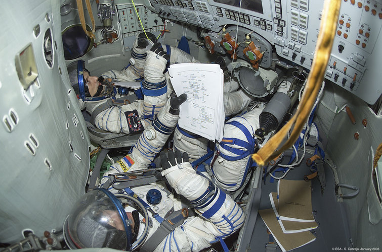 Pedro Duque during training in the Soyuz simulator at Star City