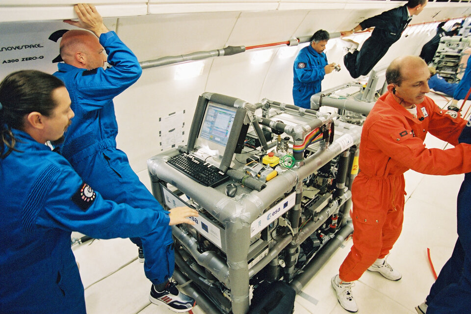 Scientists can study the behaviour of liquids and gases in weightlessness