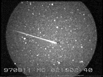 A Perseid meteor image, recorded by an ESA video image intensifier camera