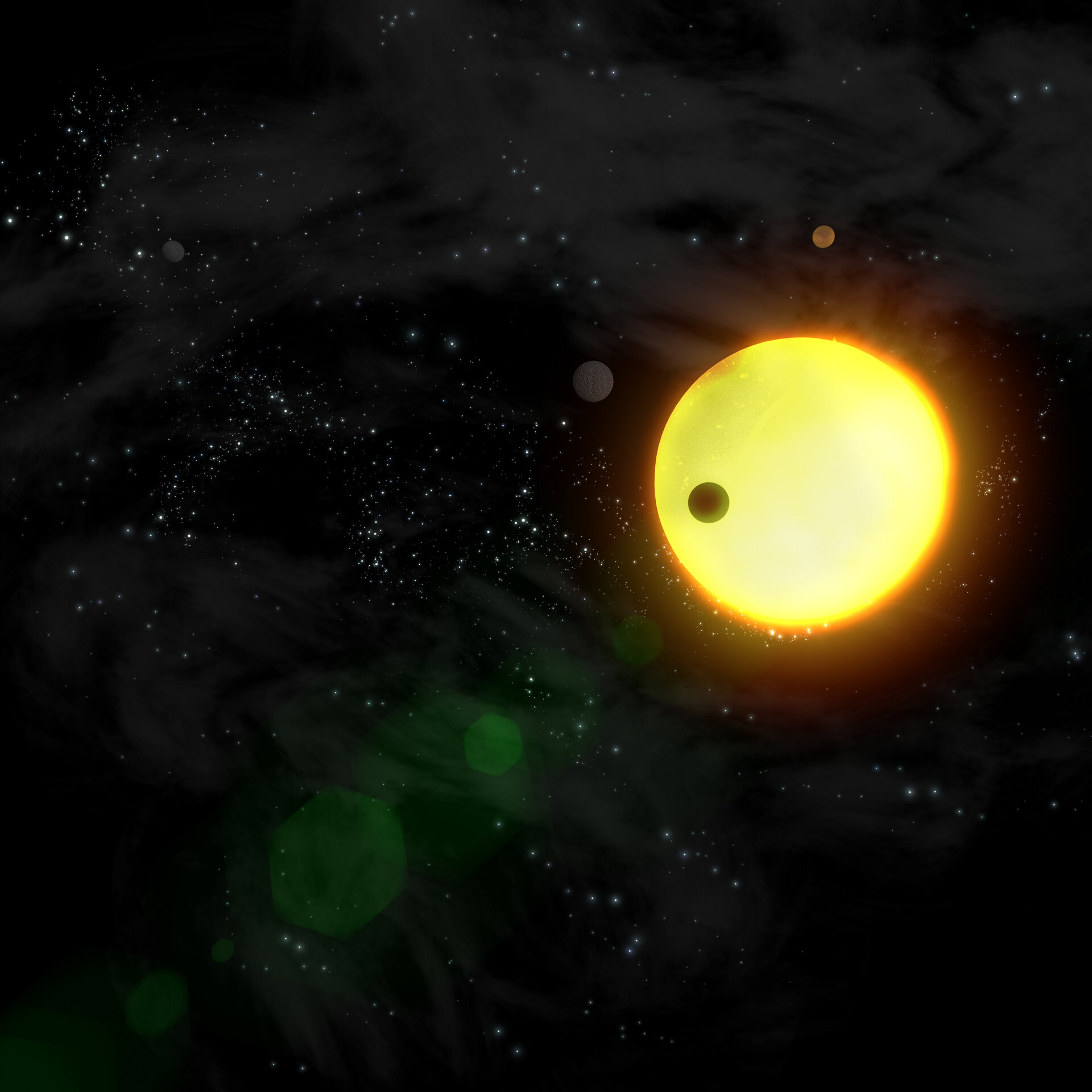 Artist's impression of extrasolar planets orbiting another sun