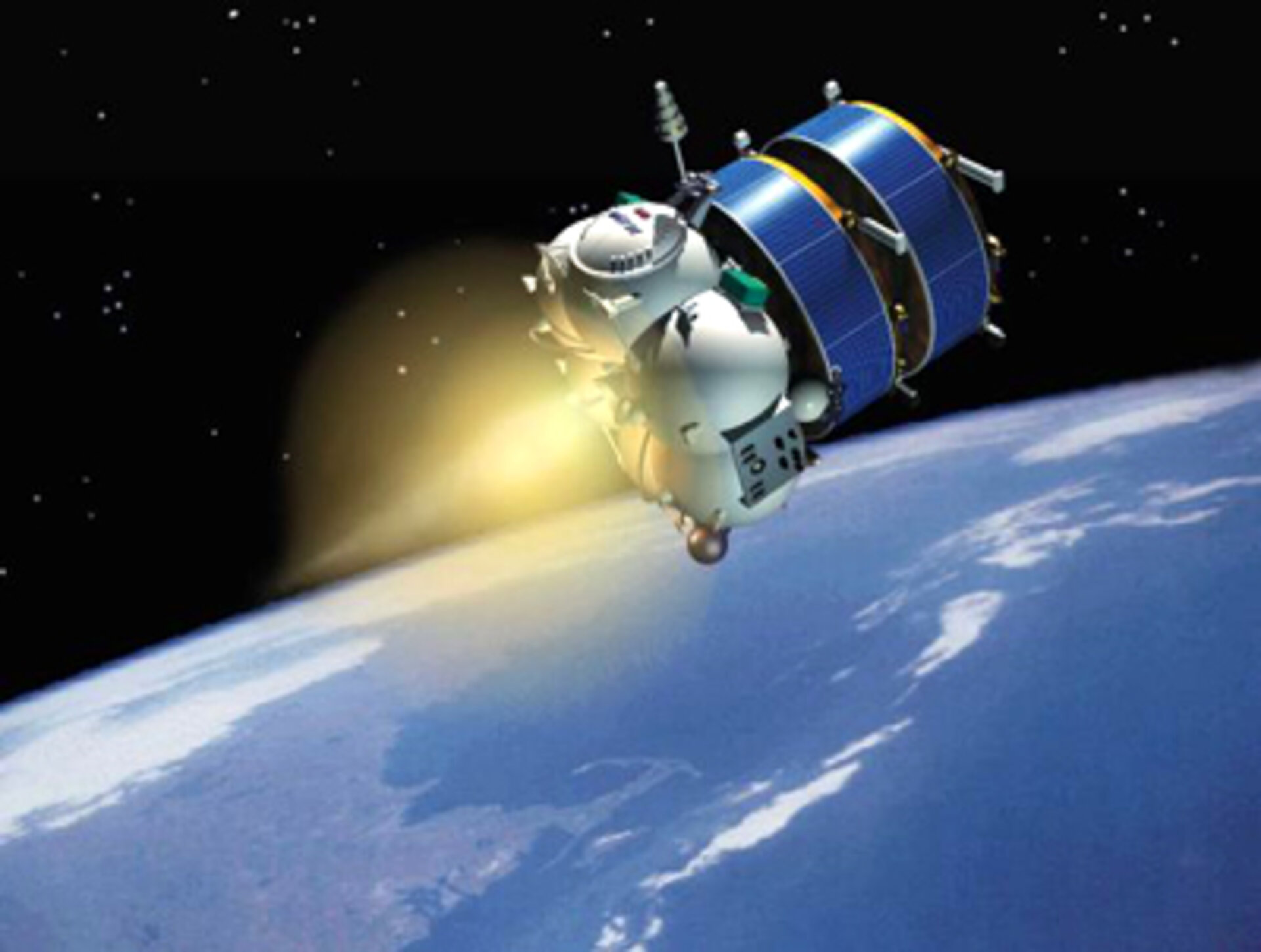 Artist's impression of Fregat carrying two Cluster spacecraft into orbit