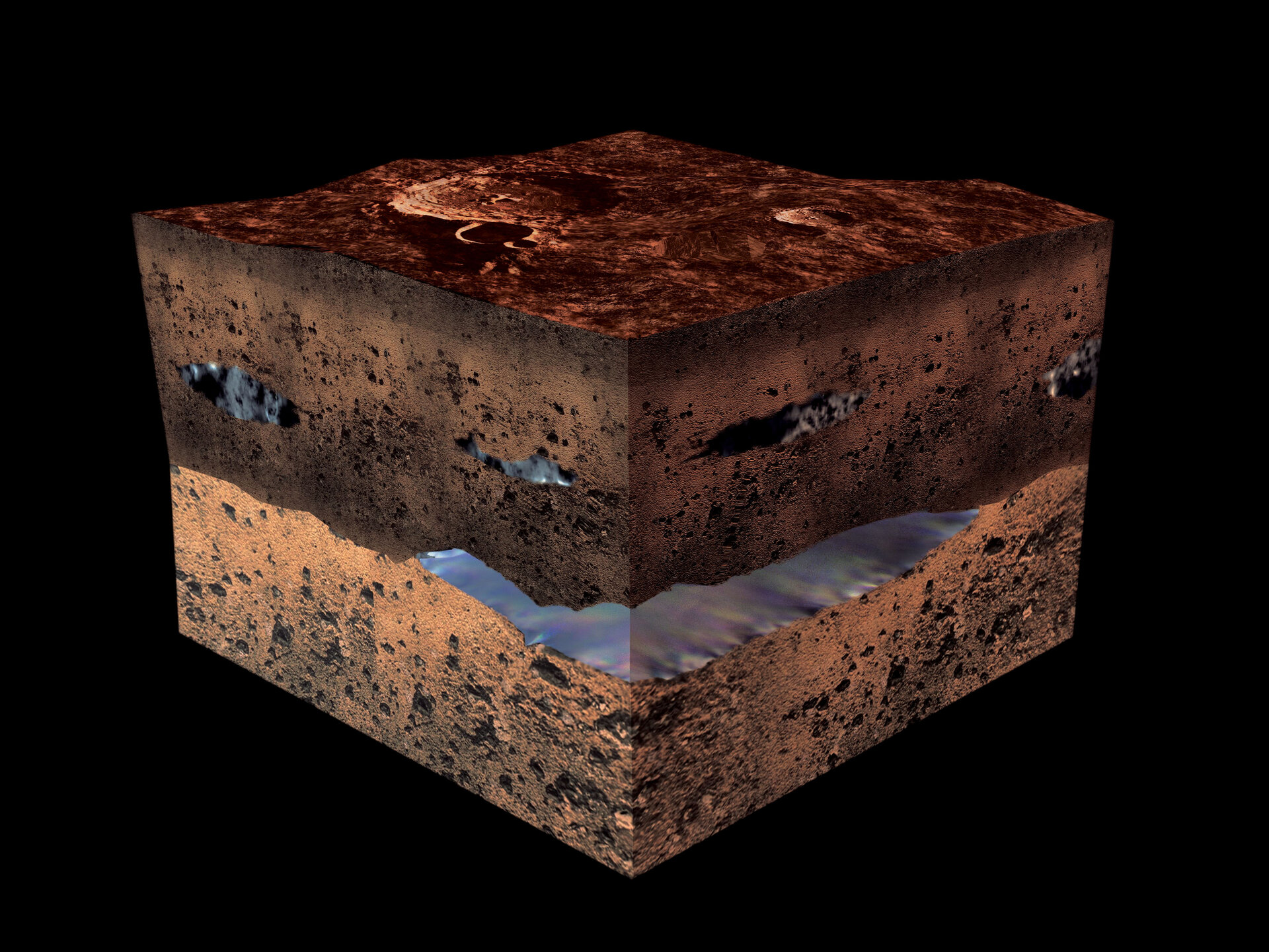 Artist's impression of water under the martian surface
