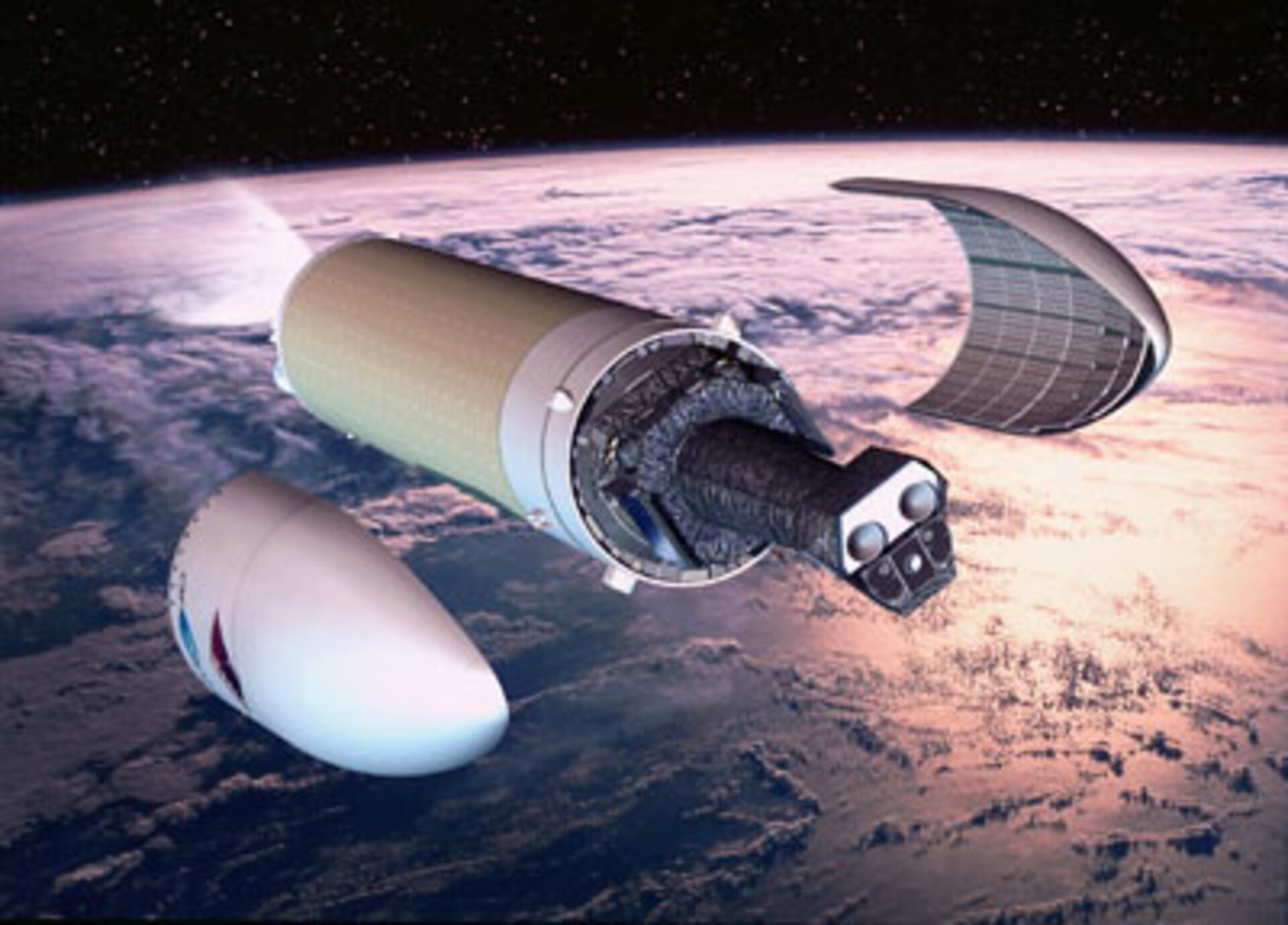 Artist's impression of XMM-Newton separating from its Ariane-5 stage
