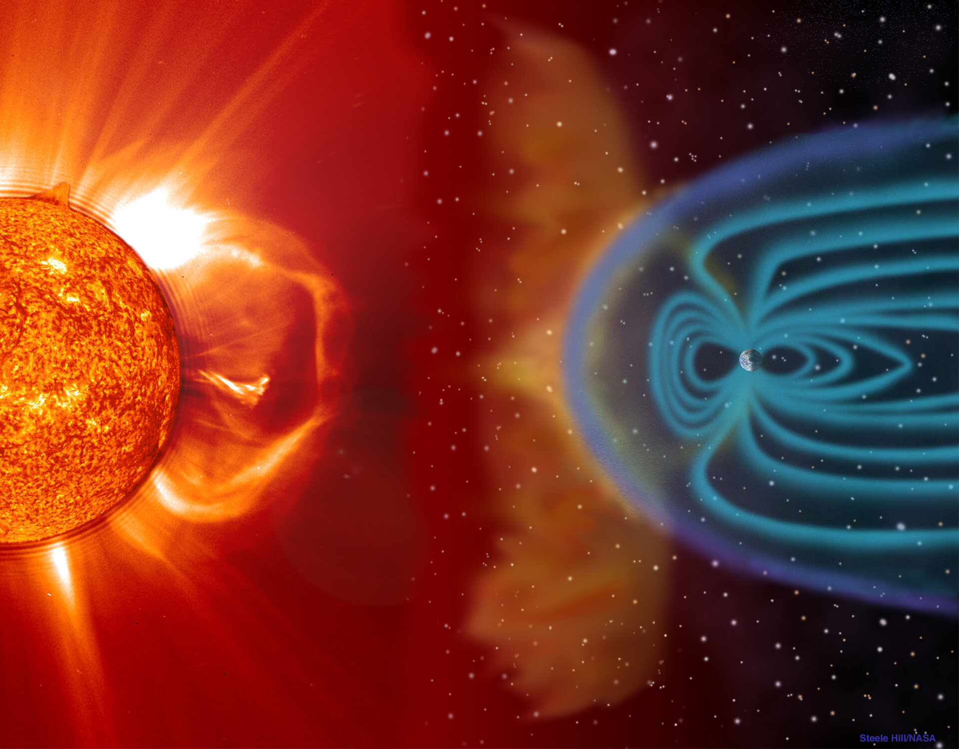 Coronal mass ejection (CME) blast and subsequent impact at Earth