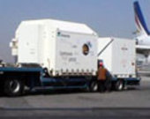 Mars Express and Beagle 2 (in two containers) loaded on a truck