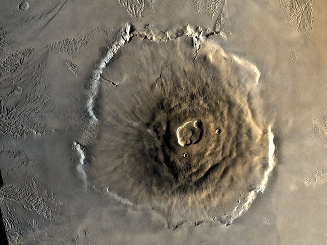 Olympus Mons, 25 kilometres high, is the highest volcano in the Solar System