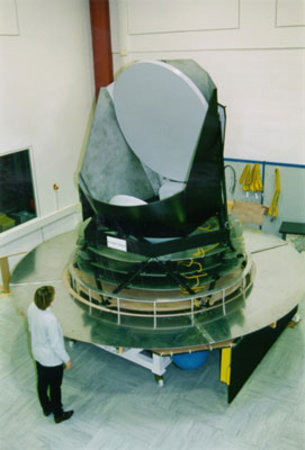 Planck's mirror, shields, service module, and solar array