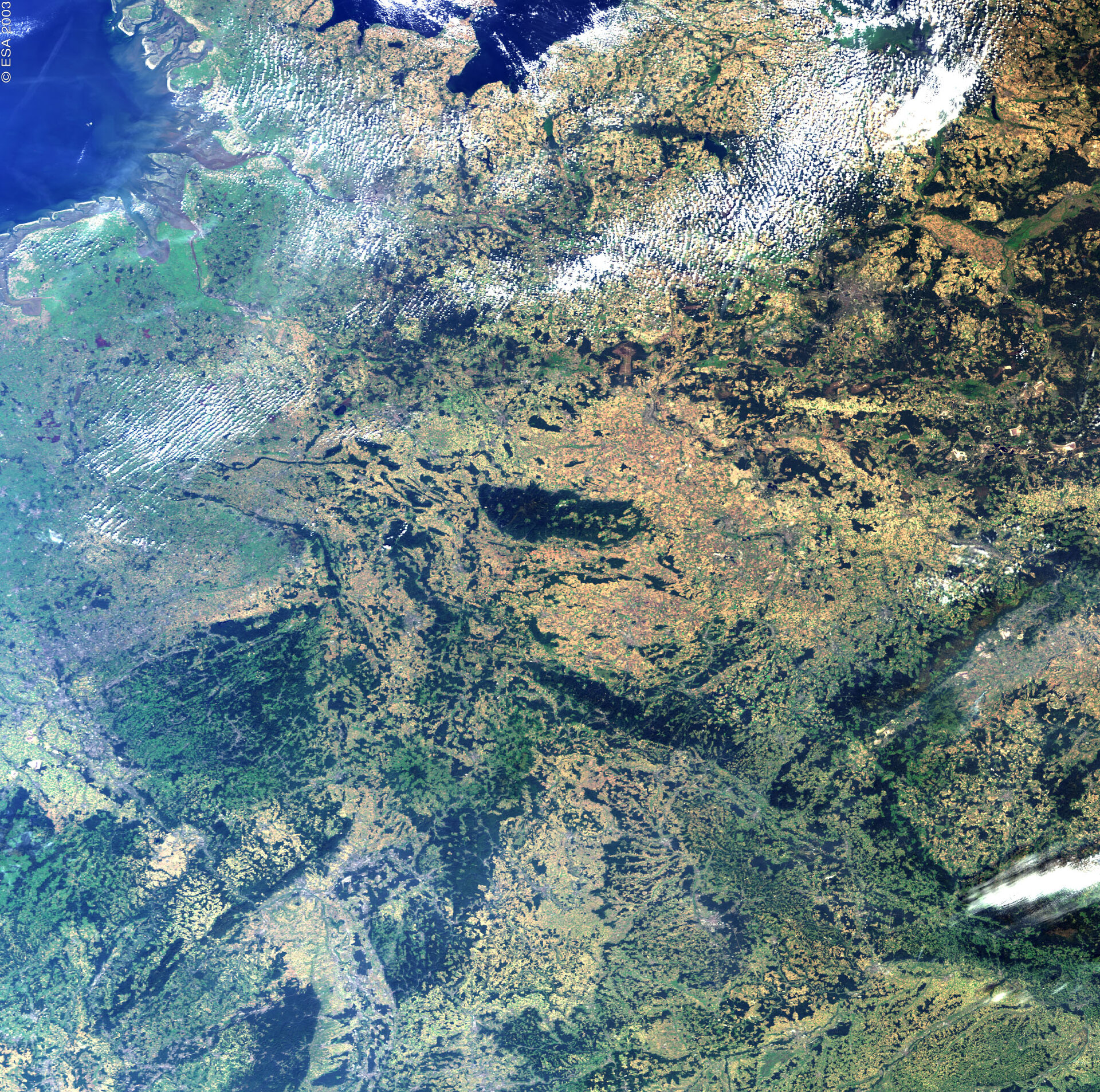 Rhineland and Central Germany – MERIS, 13 September 2002
