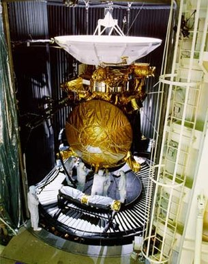 Huygens being fitted to Cassini before undergoing tests
