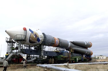 29 May 2003 - The Soyuz launcher during transport to the launch pad