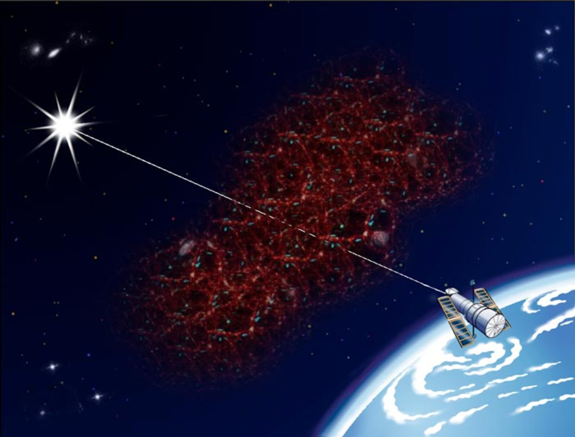 Artist's impression of Hubble detecting vast filaments of invisible hydrogen