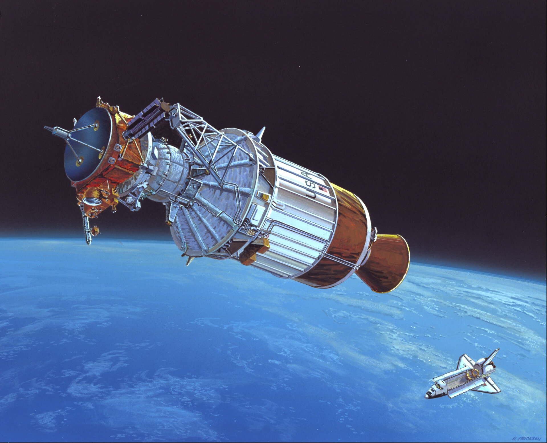 Artist's impression of Ulysses released from the Space Shuttle, 6 October 1990