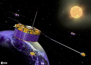 Cluster satellites study the effects of solar wind