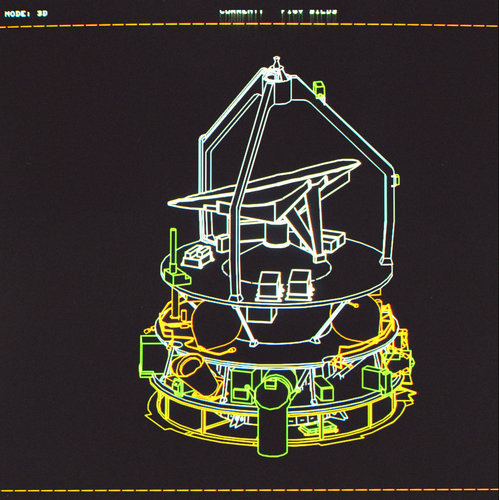 Cutaway of the Giotto spacecraft.
