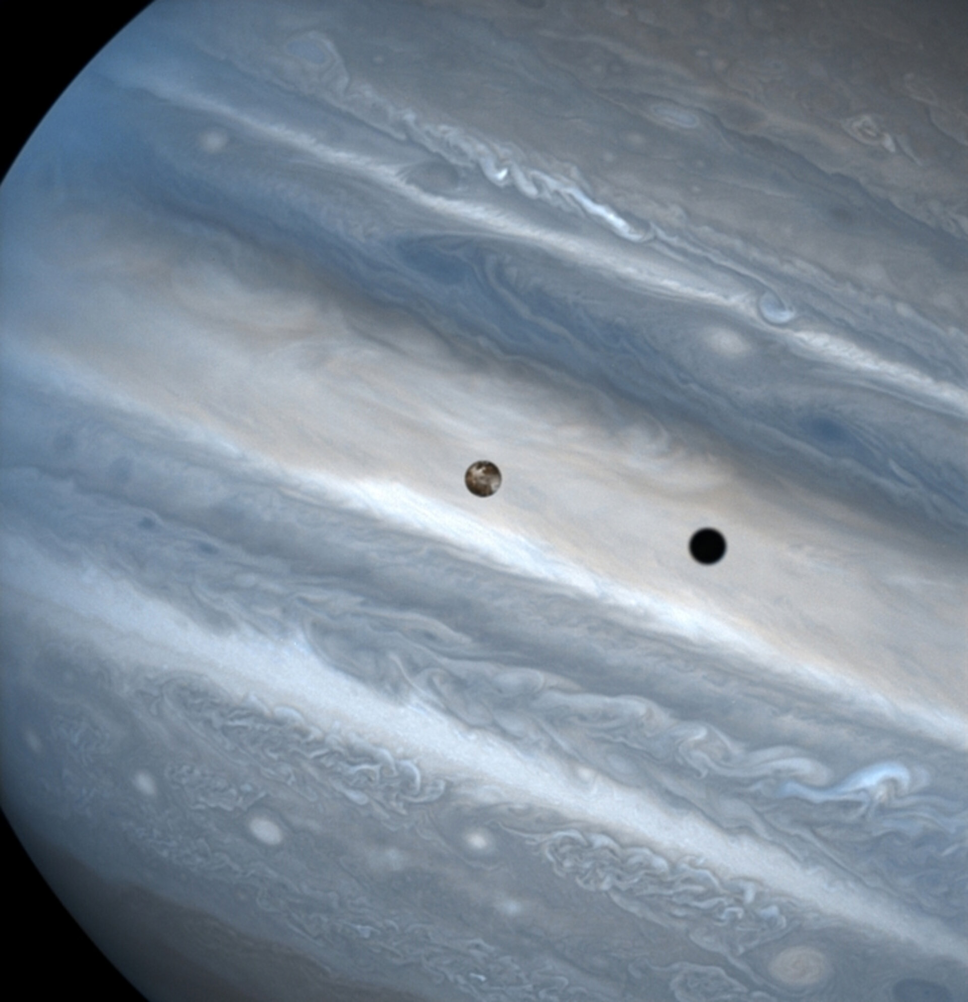 Jupiter's moon Io casts a shadow as it transits Jupiter