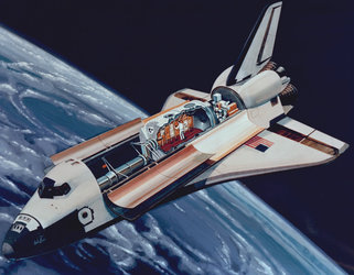 Spacelab in orbit,  1970s concept