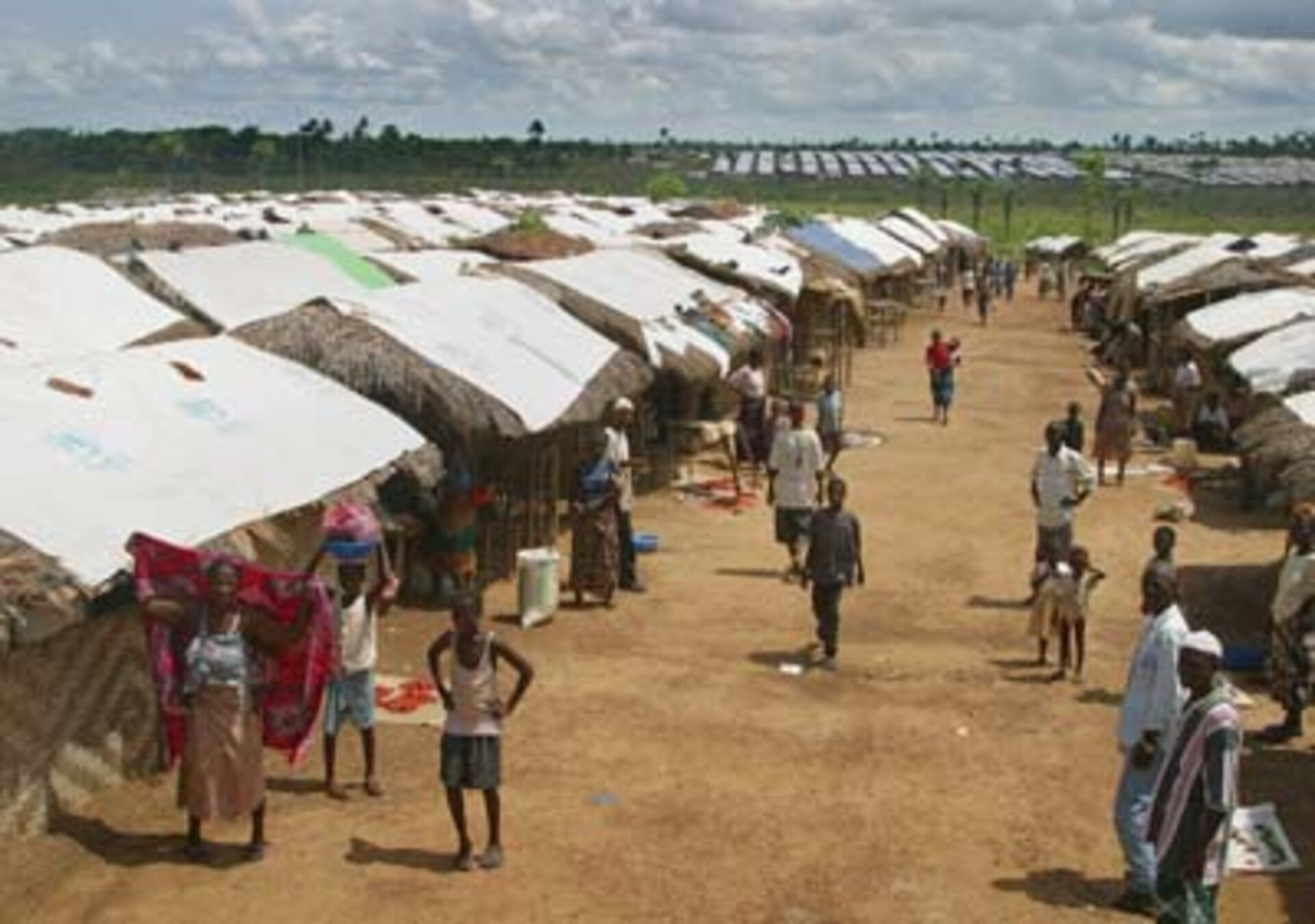 A refugee camp on the outskirts of Liberian capital Monrovia