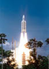Ariane-5 uses both solid and liquid fuel