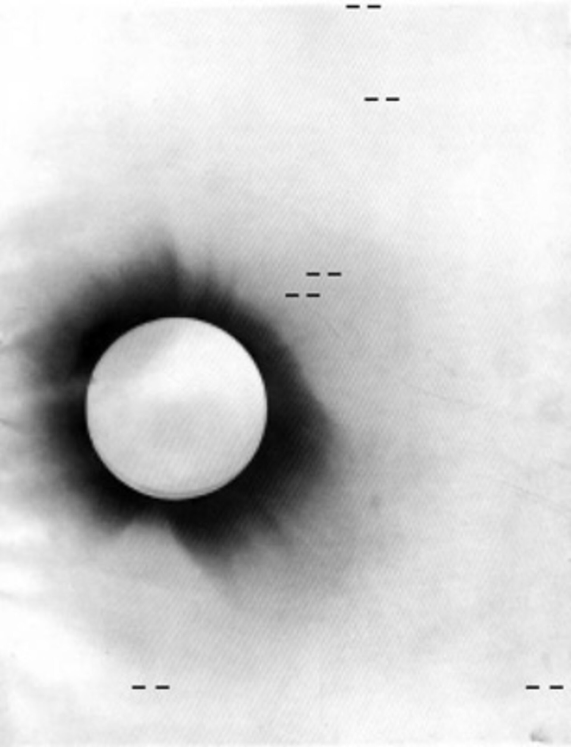 Negative photo of the 1919 solar eclipse