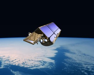 Artist's impression of CryoSat flying over southern Greenland ice sheet