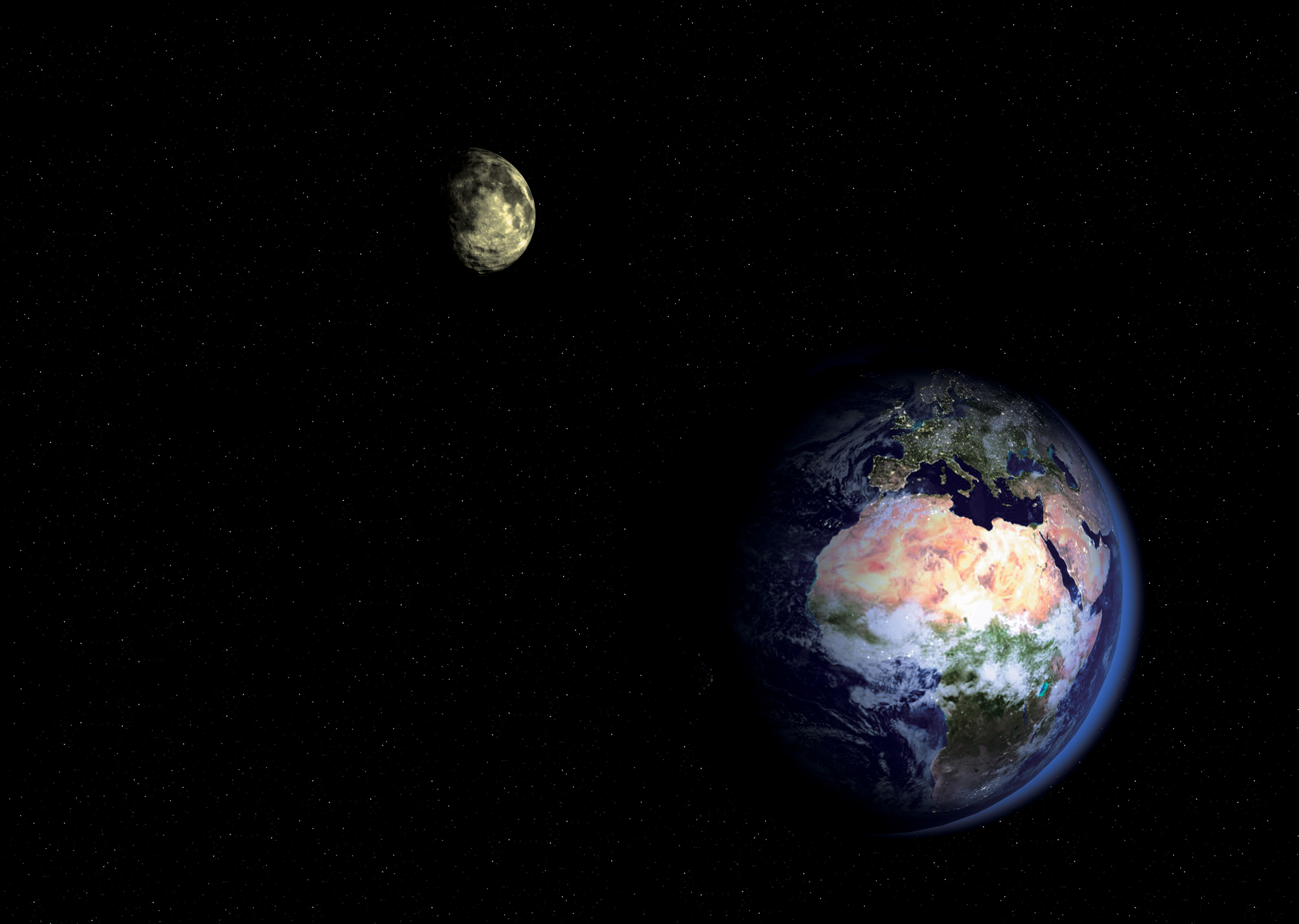 Earth and moon from space pics about space