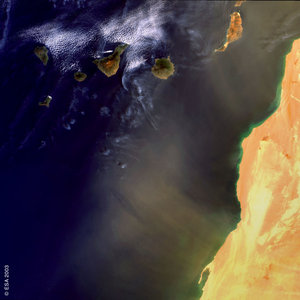 Dust blown from the Western Sahara towards the Canary Islands