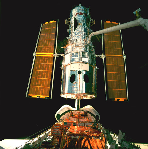 Hubble Space Telescope during repair mission STS-82