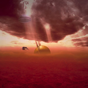 Huygens probe descending through Titan's atmosphere