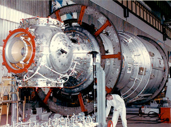 Russian Service Module during construction