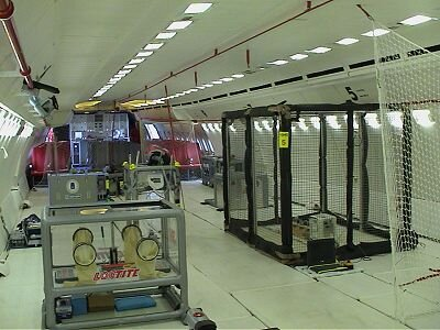 The experiment area inside the specially adapted Airbus A-300