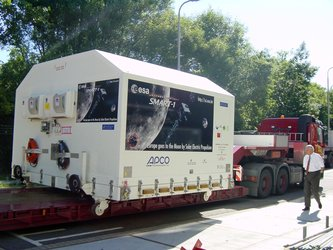 The  SMART-1 spacecraft leaves ESTEC