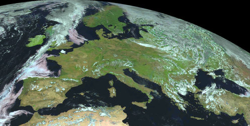 A virtually cloud-free Europe captured by MSG-1