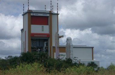The Ariane 5 launcher being moved from the BIL in front of the BAF entrance