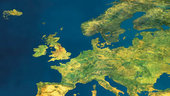A mosaic of satellite images showing a cloud-free Europe