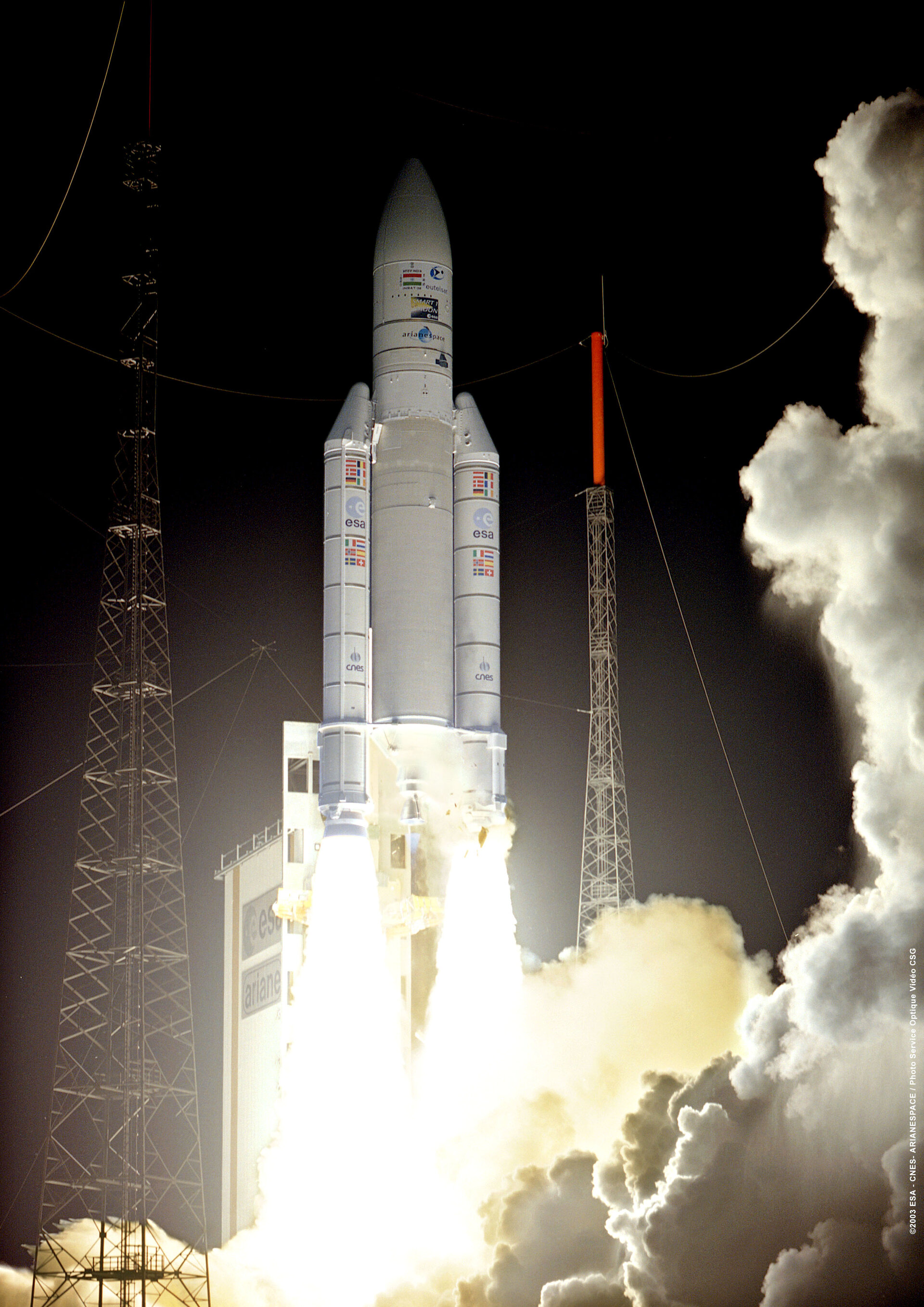 Ariane 5 G places 3 satellites in orbit, September 2003