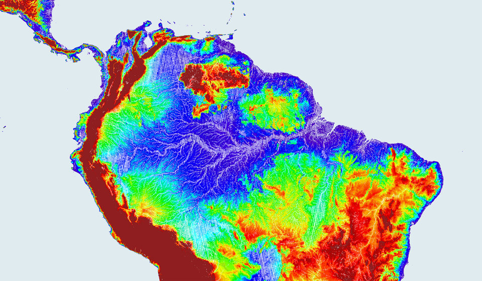 The Amazon River Basin shown by ERS-1 Radar Altimeter