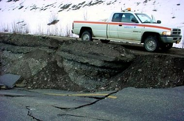 An Alaska highway cracked by the Denali quake