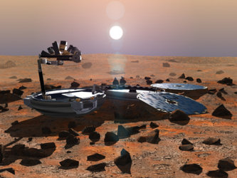 Artist's impression of Beagle 2 on Martian surface