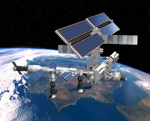 Artist's impression showing ISS in its current configuration over Spain
