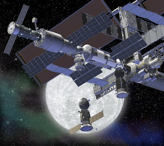 Artist's impression showing the Soyuz docking with ISS against a Moon background