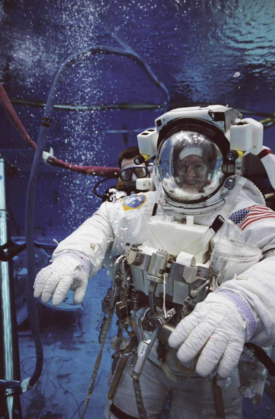 Pedro Duque during an underwater EVA simulation at JSC, Houston