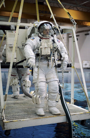 Pedro Duque during EVA training at JSC, Houston in 2001